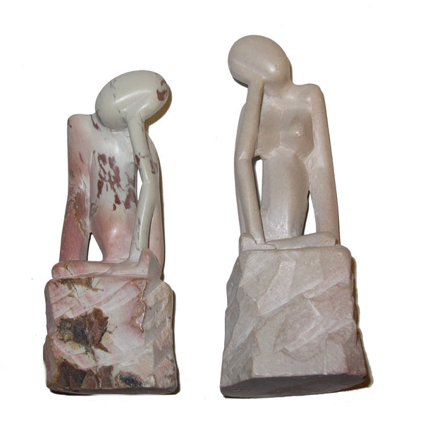 God Adam Eve Soapstone 01 Man & Woman Sculpture Statue Pair Pink Cream Crystal Healing Stones 4.2""