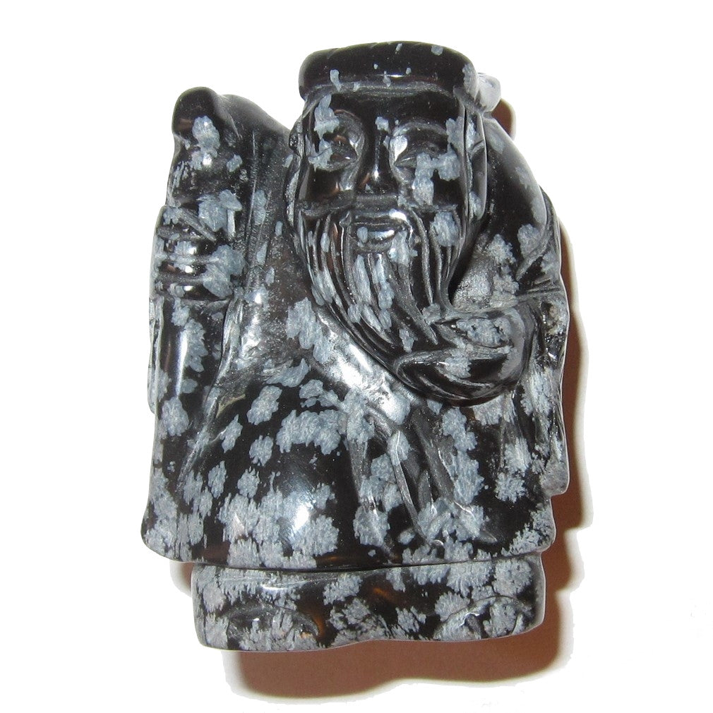 God Shou Xing Obsidian Snowflake 50 - Protective Longevity Wisdom Master Chinese Statue 2.5""