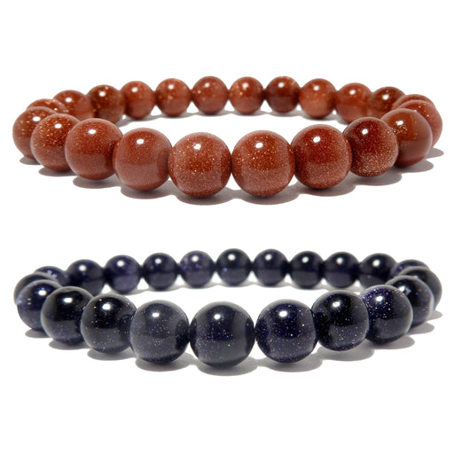 golden brown and dark blue glittering goldstone round beaded stretch bracelet set