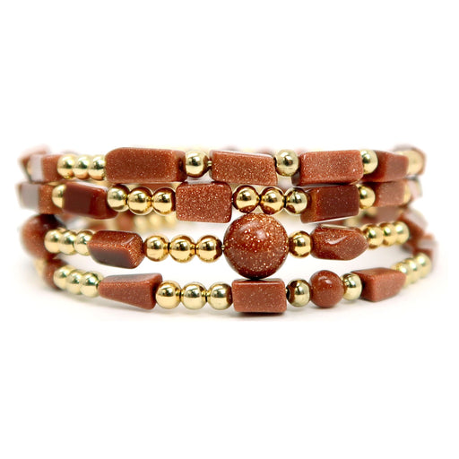 Goldstone Bracelet Specialty One-of-kind Memory Wire 4-layer Wrap Glittering Brown S01