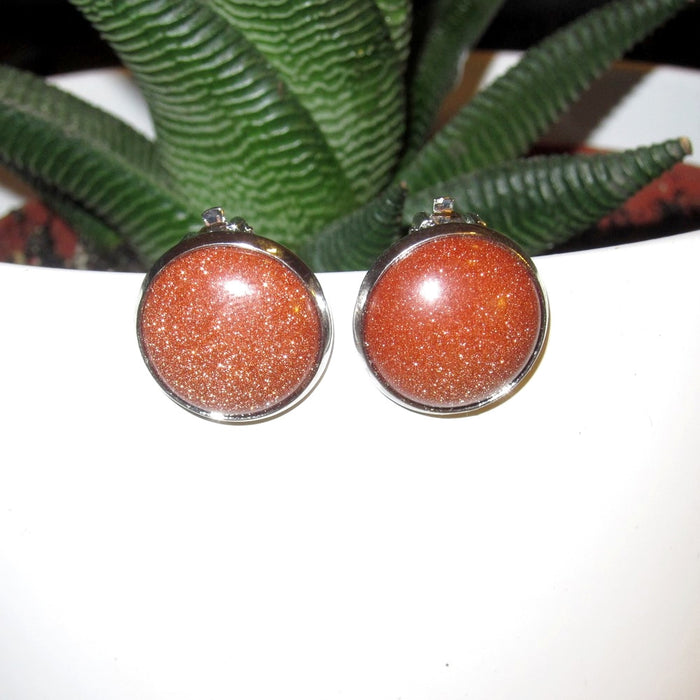 Goldstone Earrings 16mm Big Round Clip-On Dazzling Sparkling Glamour Energy Stone 01