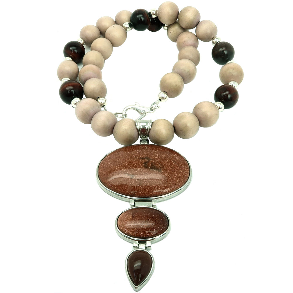 "Goldstone Necklace 20"" Chunky Brown Glittering Stone Red Tigers Eye Wood"