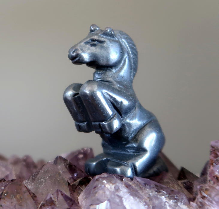 "Hematite Animal Unicorn 2.4"" Metallic Black Stone Magical Horse"