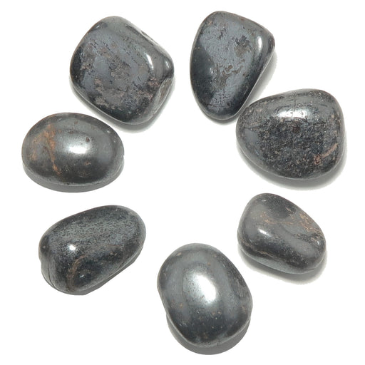 set of 10 metallic black hematite tumbled stones