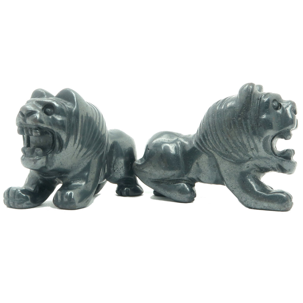 "Hematite Animal Cat Set 2"" Premium Metallic Black Carving Lion Pair P01"