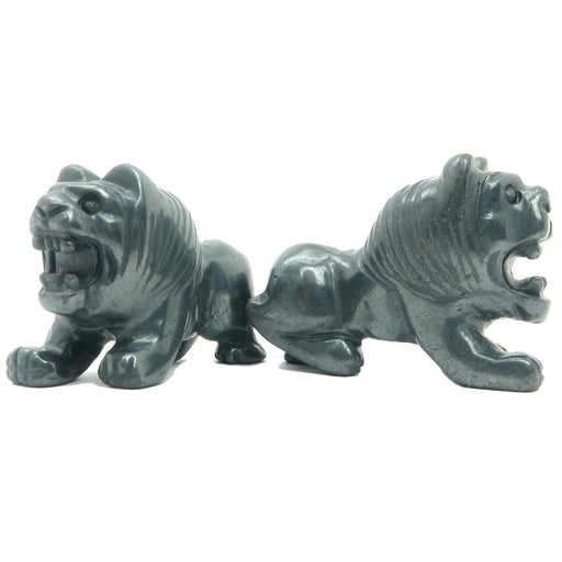 genuine metallic black hematite lion carving pair
