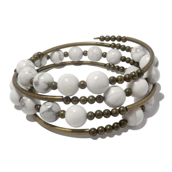 genuine white and gray howlite beads on an antiqued brass memory wire coil bracelet, beaded for a multi-layered jewelry statement.