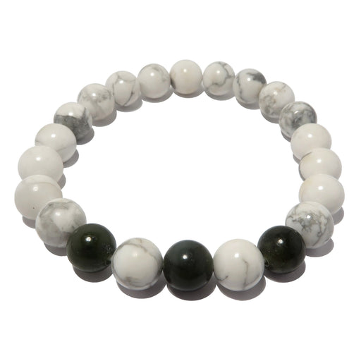 genuine white and gray howlite and dark green nephrite beads beaded on stretch bracelet.