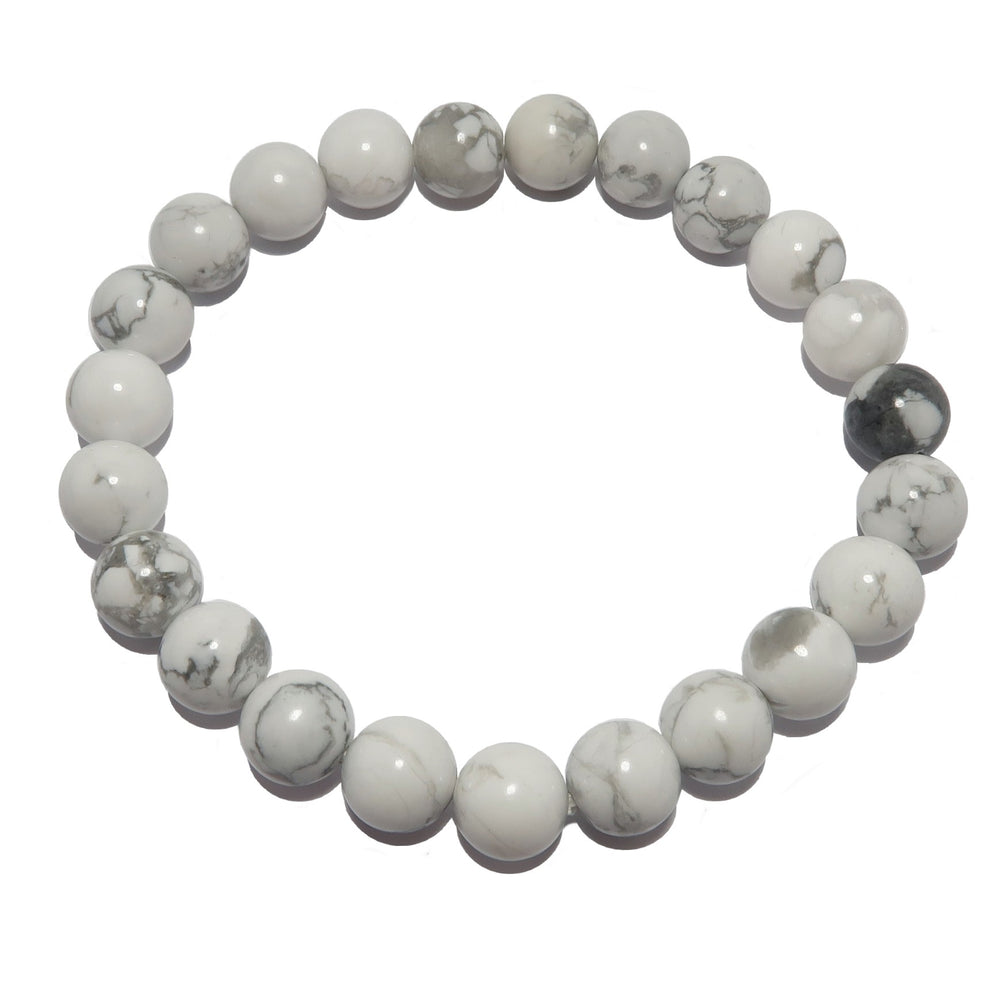 Howlite Bracelet 7mm Snow White Gray Stone Calming Natural Round Beaded Stretch Crystal