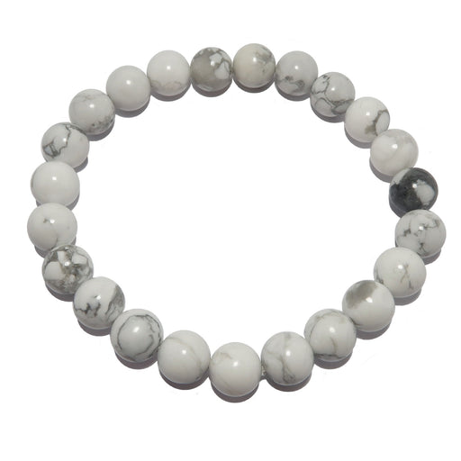 Howlite Bracelet 7mm Snow White Gray Stone Calming Round Beaded Stretch