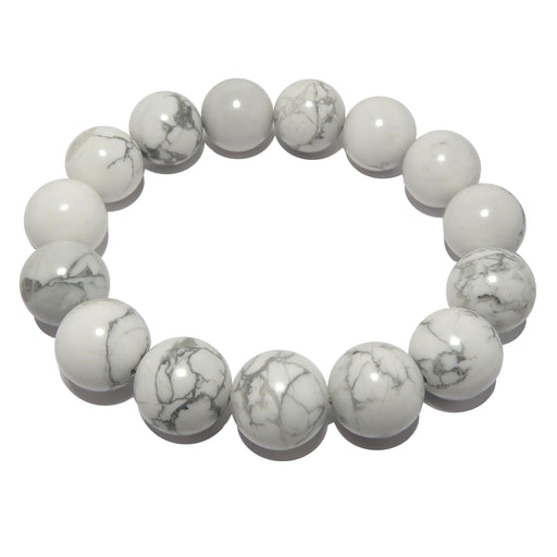 white and gray howlite stretch bracelet beaded with 11-12mm beads