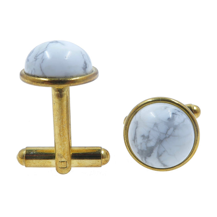 Howlite Cufflinks Gold 12mm White Gray Natural Round Gemstone