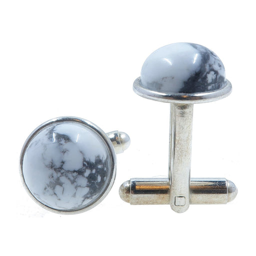 Howlite Cufflinks Silver 12mm White Gray Natural Round Gemstone Metal Bullet-Back B01