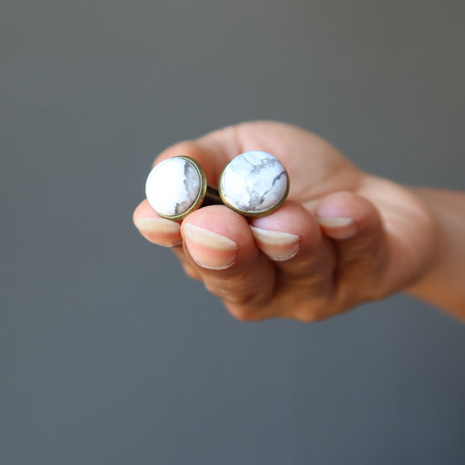 Howlite Cufflinks Antique Bronze 12mm White Round Gemstone