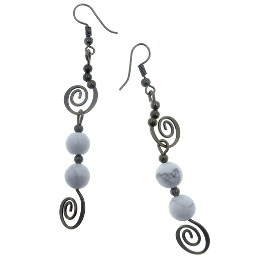 "Howlite Earrings 3"" Boutique Antiqued Crop Circle Mystery White Stone Dangle Spiral B01"