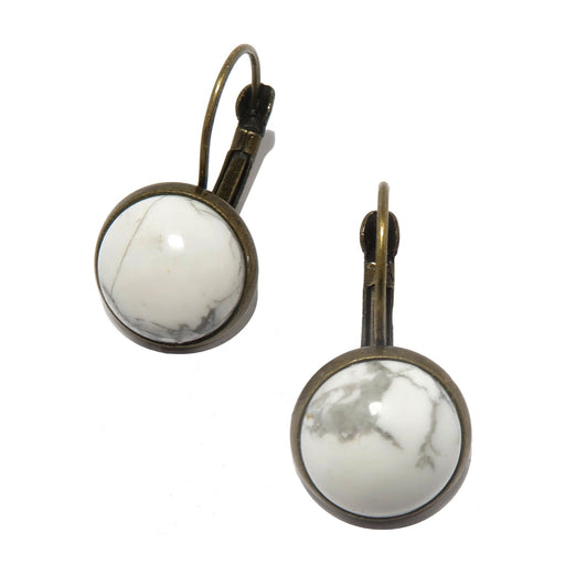 white and gray howlite circles in bronze leverback earrings