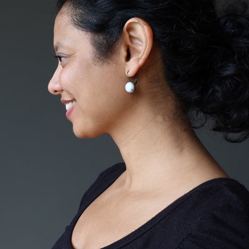 sheila of satin crystals wearing howlite earrings