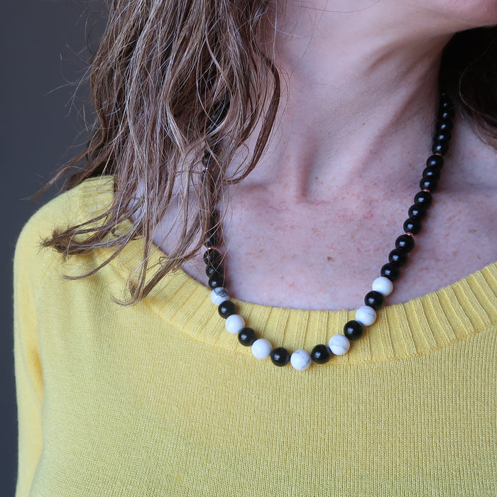 Howlite Jet Necklace Everyday Charm Black White Classic Gems