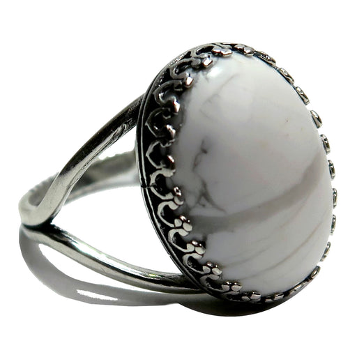 white and gray howlite oval gemstone in sterling silver adjustable ring