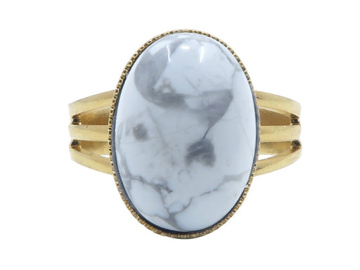 Howlite Ring 4-10 Boutique Genuine White Gray Vein Stone Oval Adjustable B04 (Gold)