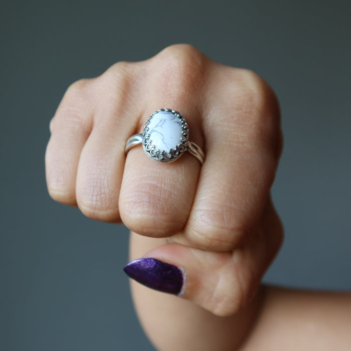 Howlite Ring Sterling Silver Adjustable Highest Mountain Top Vibrations