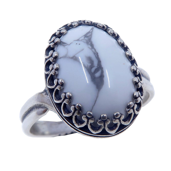 white and gray oval howlite gemstone in sterling silver adjustable ring