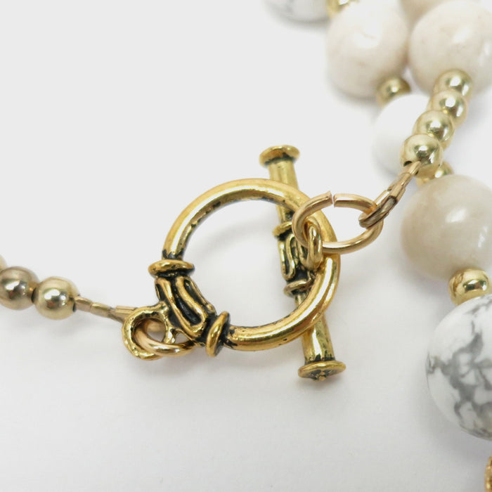Howlite Necklace Victorian Vintage Charm Gold Filigree White Beads