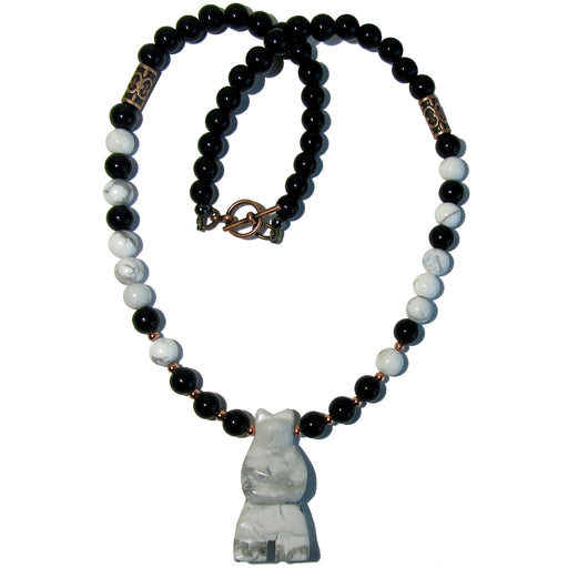 Howlite Bear Necklace Black Obsidian White Mighty Beaded Animal Spirit
