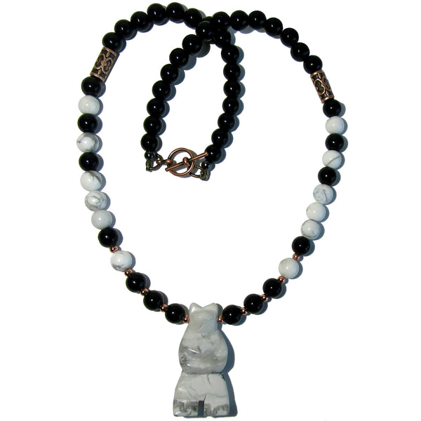 Howlite Necklace Boutique Black Obsidian White Mighty Bear Beaded Animal Spirit B01