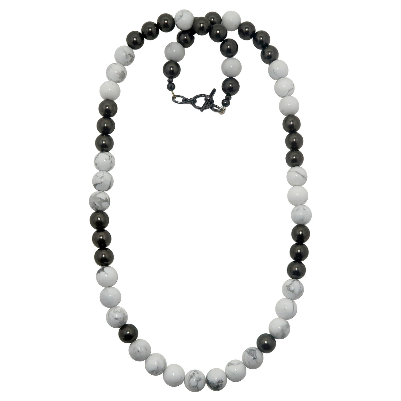 Howlite Necklace Boutique Chunky Beaded Stone White Round Shiny Black Gunmetal B03