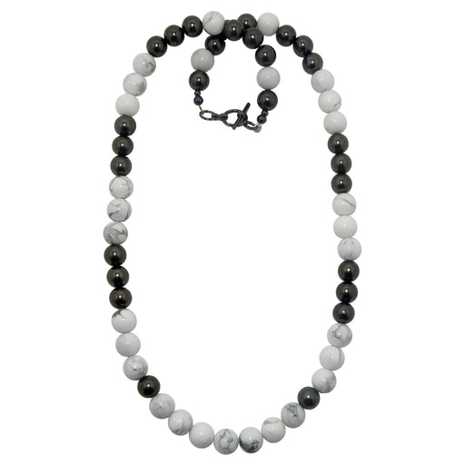 Howlite Necklace Chunky Beaded Stone White Round Shiny Black Gunmetal