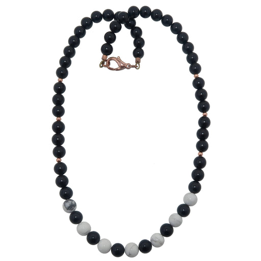 black jet stone and white howlite round beaded necklace with copper accents