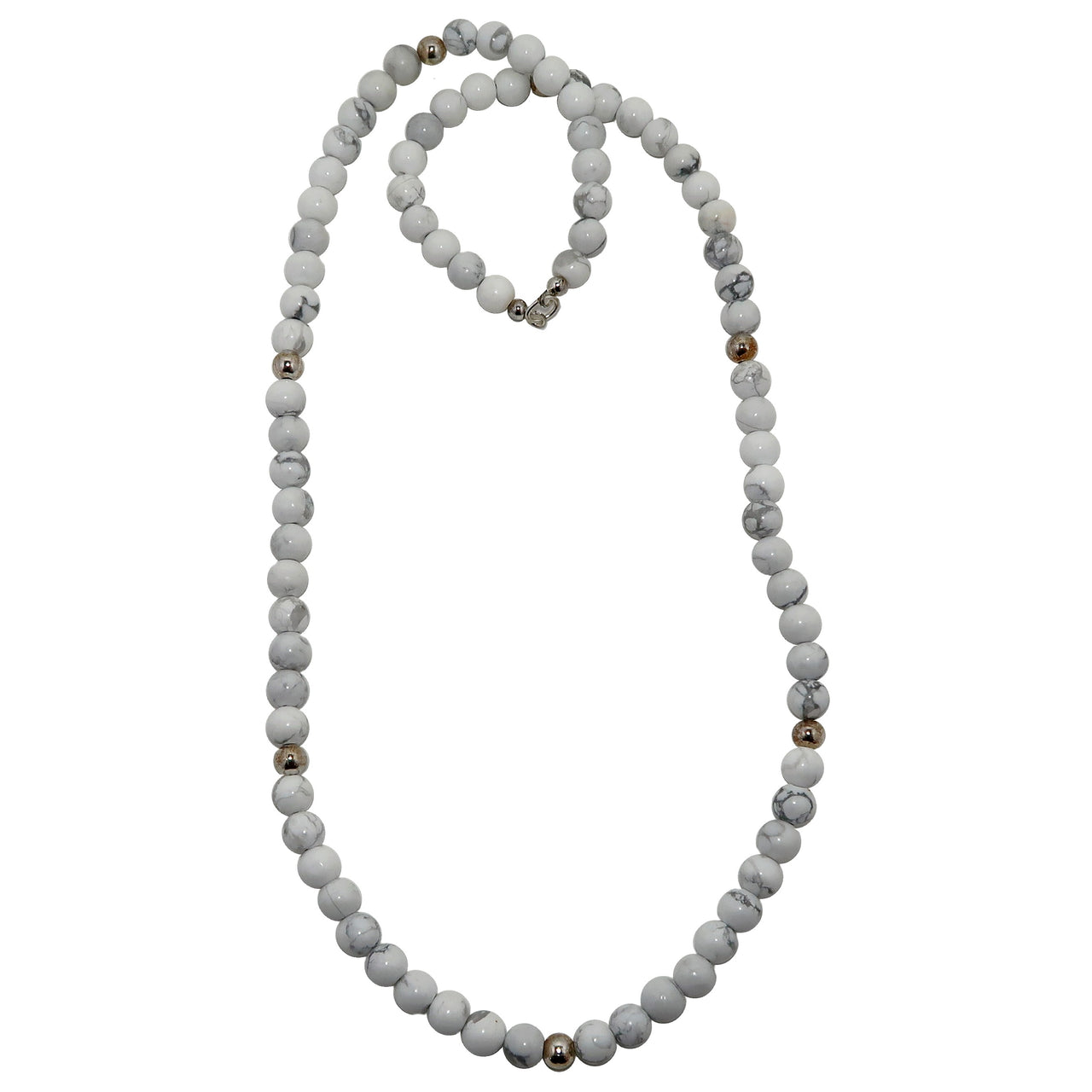 Howlite Necklace 7mm Boutique White Gray Round Beaded No Clasp Gemstone B05