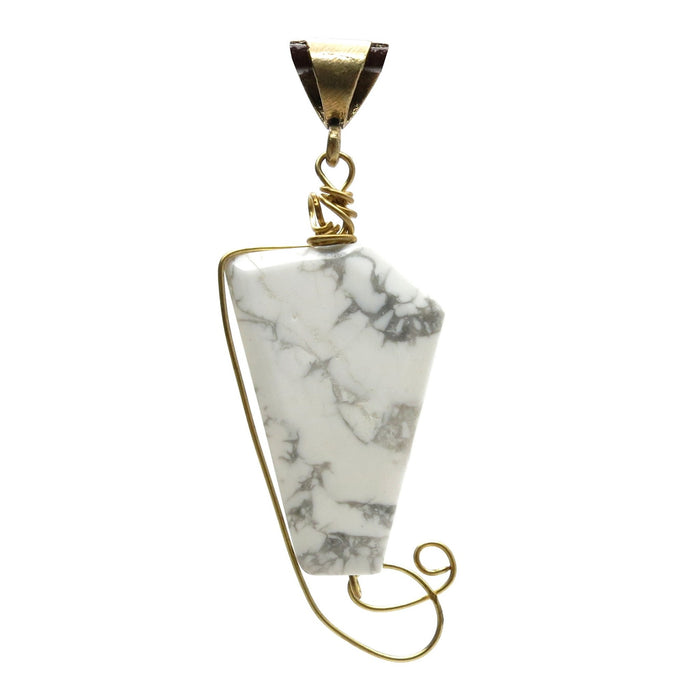 "Howlite Pendant 3"" Gold Wire Wrapped White Polygon Stone One-of-Kind Charm 07z"