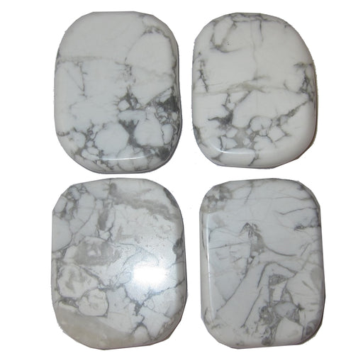 Howlite Polished Stone Set of 4 Habit Addiction Breaking New Beginnings Healing Crystals White Stones P01 (1.8 inch)