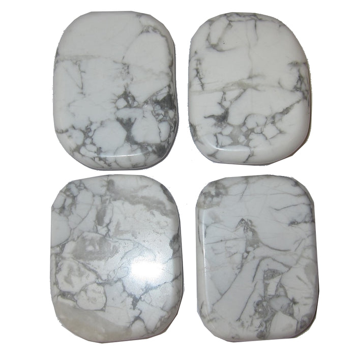 Howlite Polished Stone Set of 4 Habit Addiction Breaking Healing Crystals