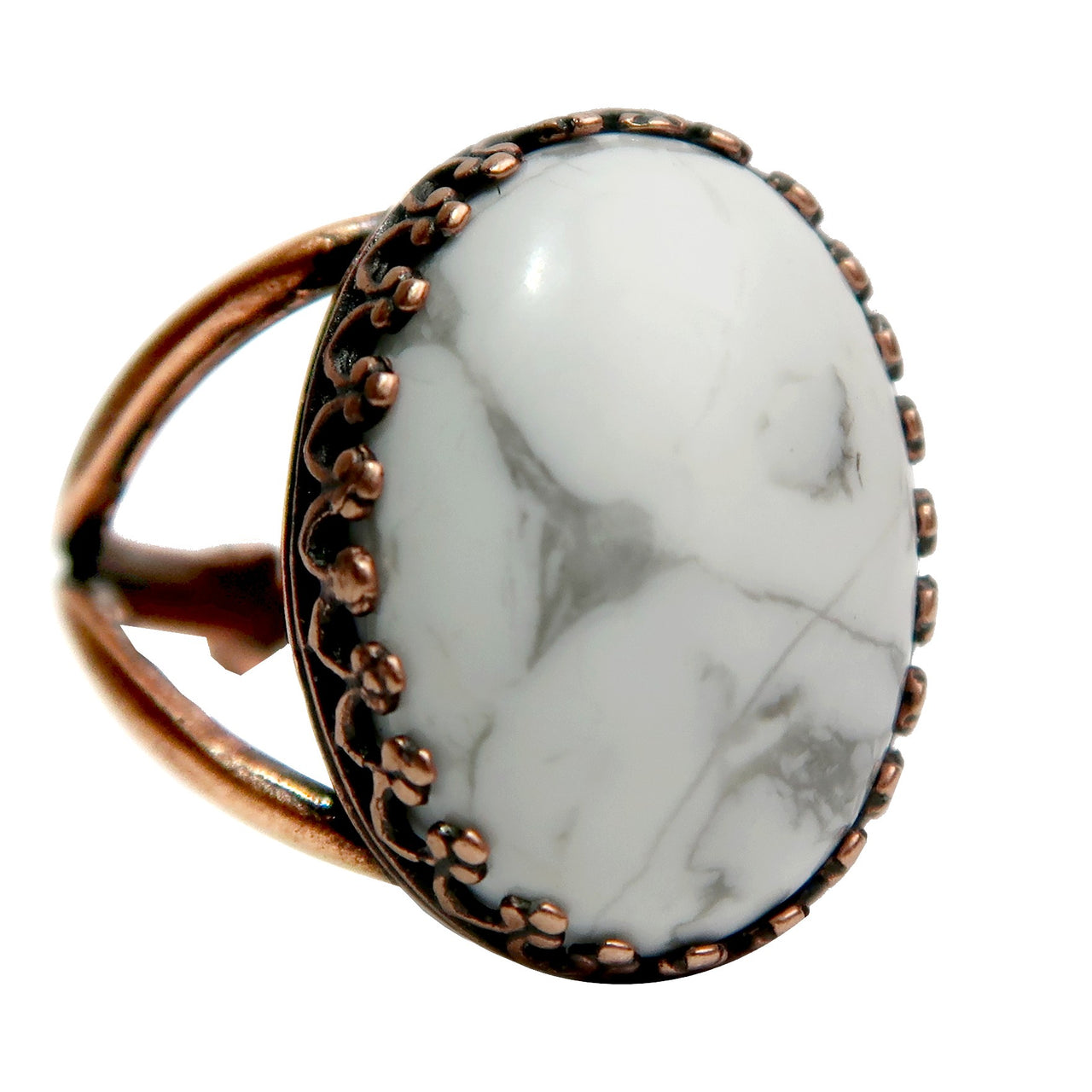 Howlite Ring 6-8 Boutique White Gemstone Oval Adjustable Antiqued Copper B01