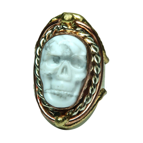 Howlite Ring 4-8 Boutique White Skull Gemstone Unique Chunky Adjustable Metal B03