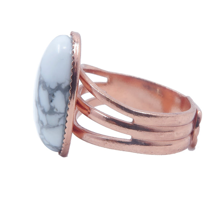 Howlite Ring 4-10 Boutique Genuine White Stone Oval Gray Vein Adjustable B04 (Copper)