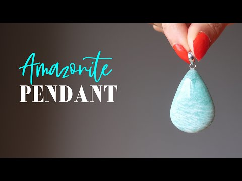 video featuring amazonite tear drop pendant