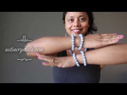 video about blue angelite round beaded stretch bracelet