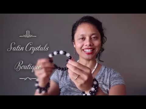 video on snow quartz rainbow obsidian bracelets