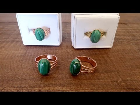 video on malachite oval adjustable rings