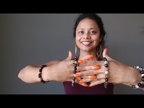 video about banded coffee brown and black agate faceted round beaded stretch bracelets