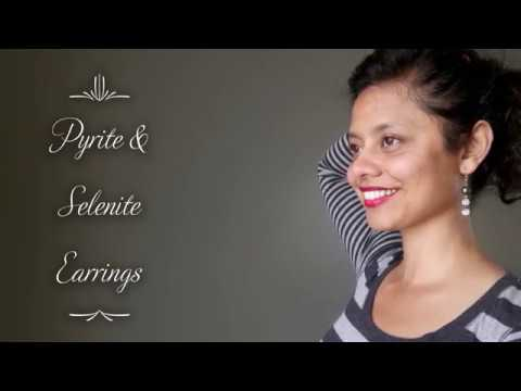 video featuring pyrite selenite earrings