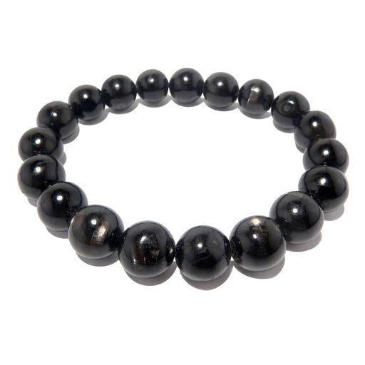 genuine black hypersthene beaded stretch bracelet showing silver iridescent sheen, polished into round beads and strung on elastic cord
