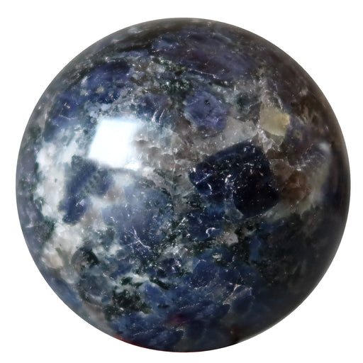 blue iolite sphere with white quartz and hematite inclusions
