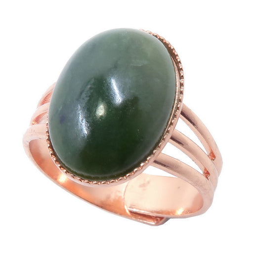 green jade oval in copper adjustable ring