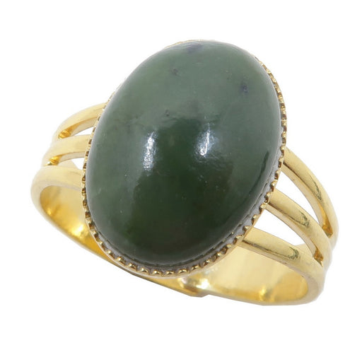 nephrite jade oval in gold adjustable ring