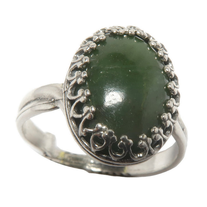 nephrite jade oval in sterling silver ring